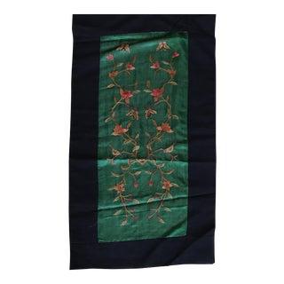 Vintage Asian Embroidered Silk Jade Textile