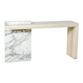 Paul Marra Marble and Bleached Oak Console