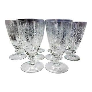 Vintage Crystal Etched Short Stem Glasses - Set of 10