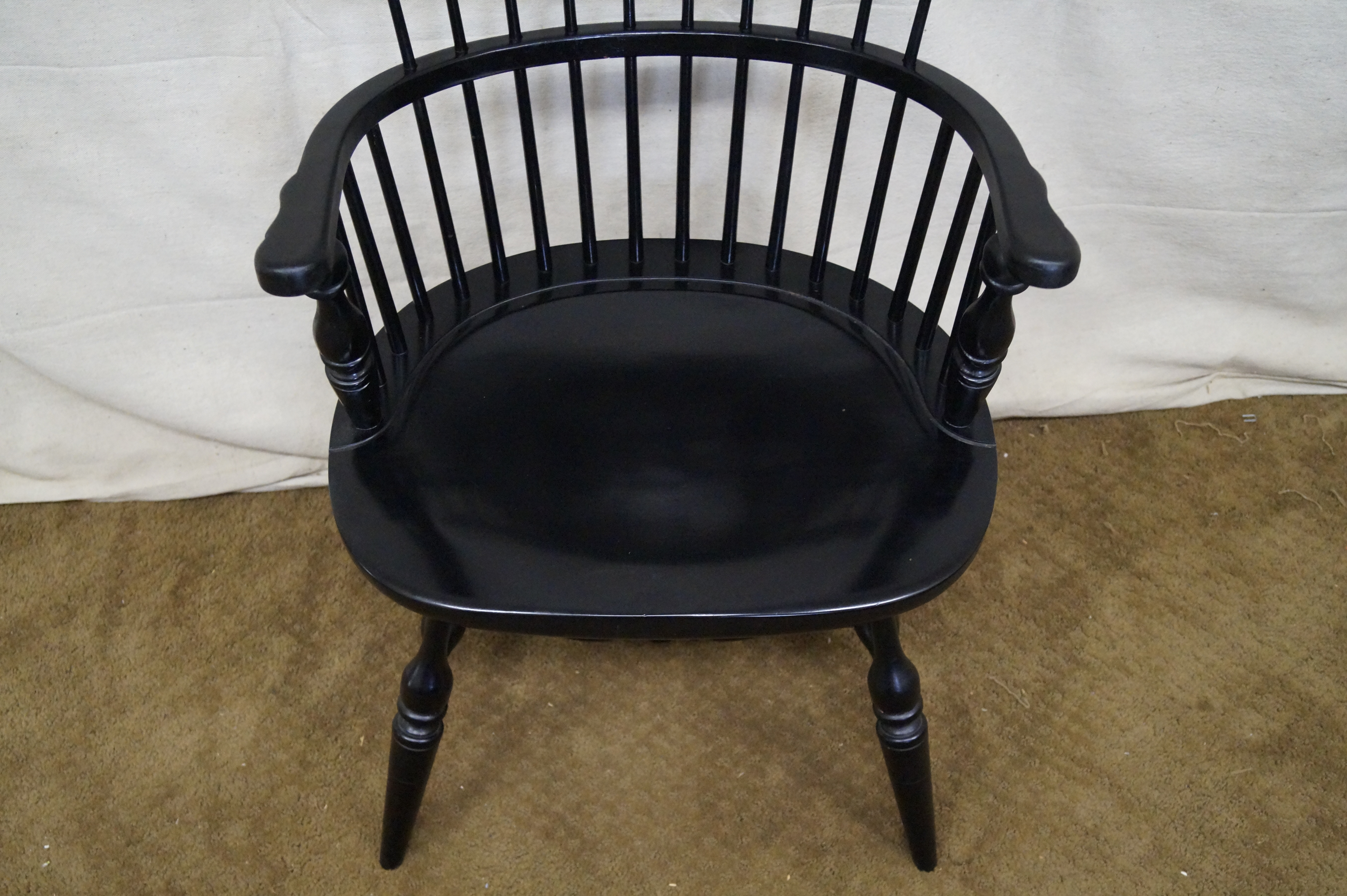 Duckloe Brothers Black Windsor Arm Chairs   Set Of 4   Image 9 Of 9