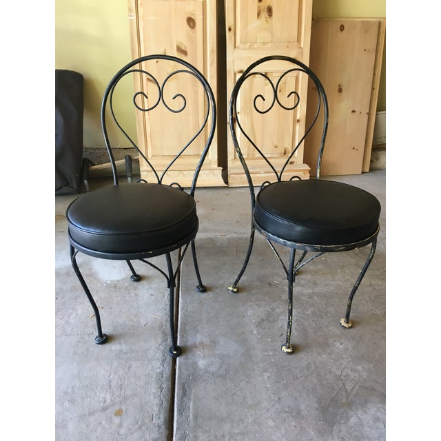Mid-Century Wrought Iron Bistro Chairs - A Pair - Image 2 of 3