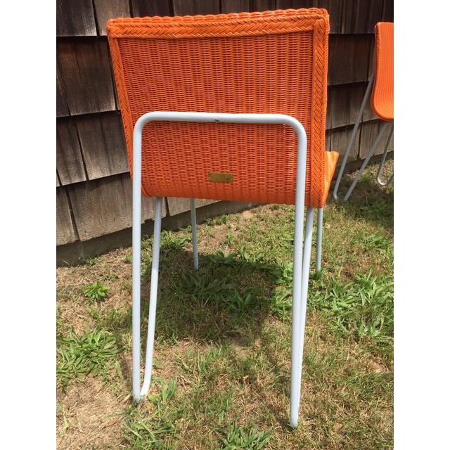 Orange Wicker & Metal Dining Chairs - Set of 8 - Image 5 of 7