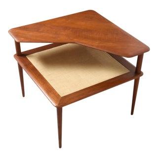 "Vintage Danish Modern ""Minerva"" Teak & Cane Corner Table by Peter Hvidt & Orla Molgaard"