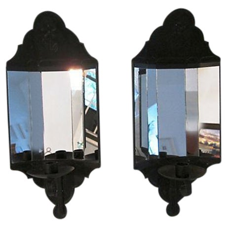 Black Mirrored Candle Wall Sconces - A Pair - Image 1 of 8