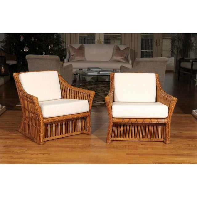 Magnificent Pair of Restored Vintage Rattan Club Chairs by McGuire - Image 2 of 10