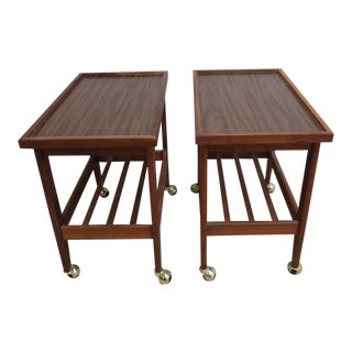 Danish Modern Floating Lamp End Tables - A Pair