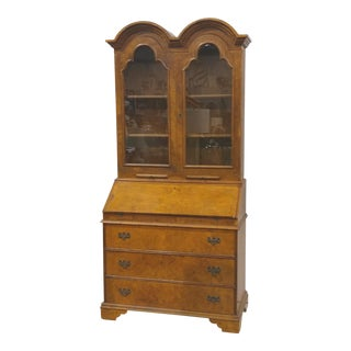 Double Bonnet Burl Walnut Secretary Desk