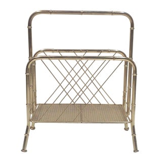 Brass Faux Bamboo and Cane Magazine Rack