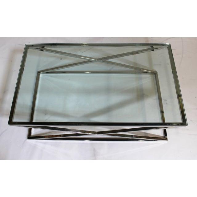 "Glass Coffee Table Chrome Base: Chrome ""X"" Base Glass Coffee Table"