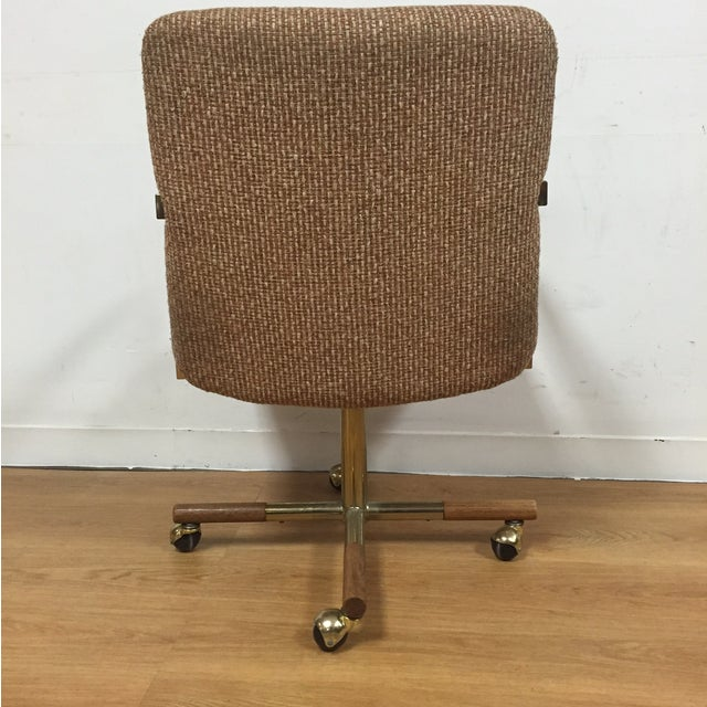 Milo Baughman Style Brass Office Desk Chair - Image 4 of 11