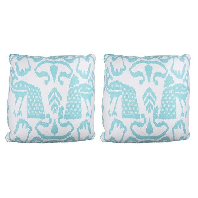 Aqua Bali Isle Linen Pillows- a Pair - Image 1 of 7