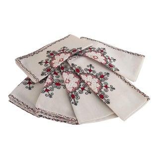 Vintage Handmade Linen Napkins - Set of 6