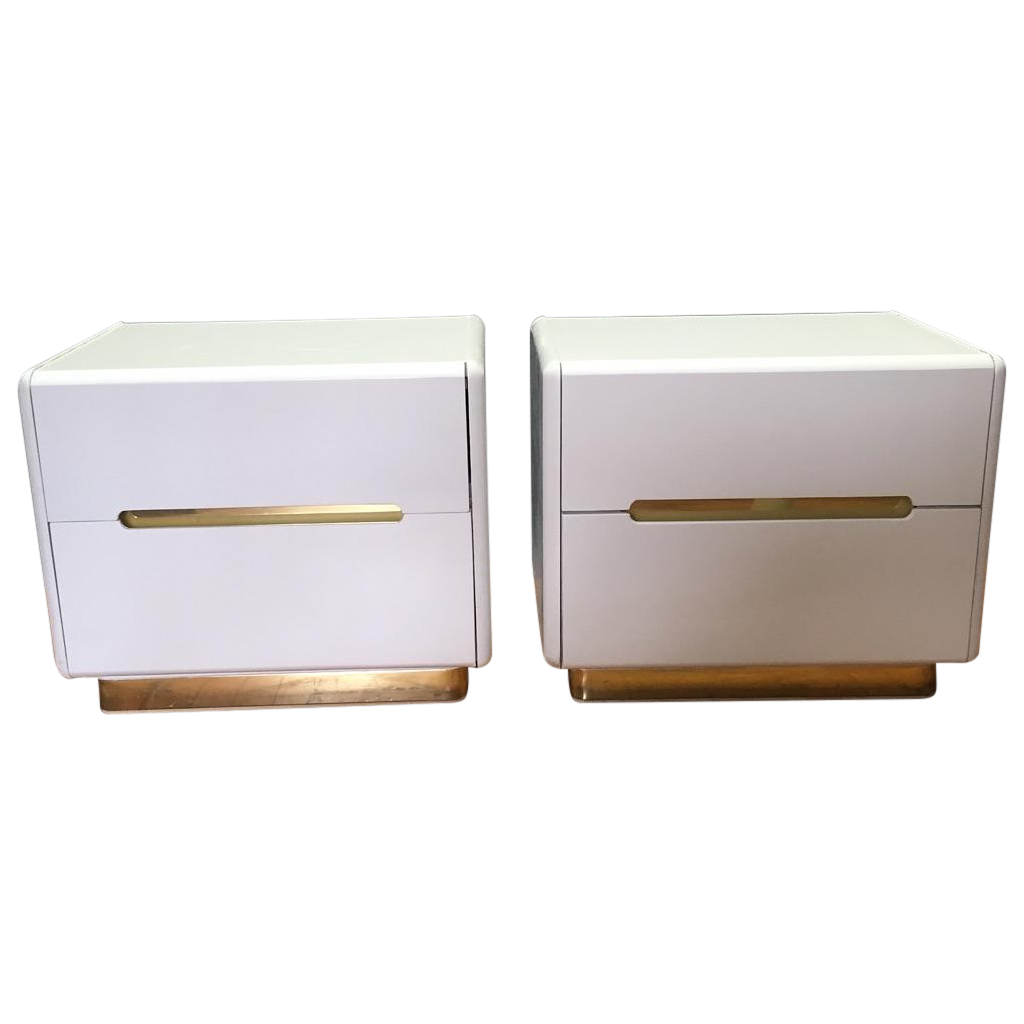 furniture white gold nightstands a pair chairish