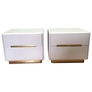 Lane Furniture White & Gold Nightstands - A Pair