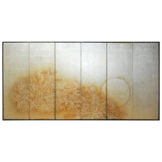 Japanese Meiji Period 6-Panel Silver Leaf Screen