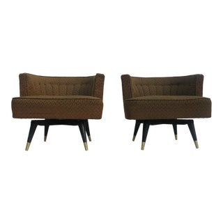 Adrian Pearsall Style Barrel Back Swivel Lounge Chairs - a Pair