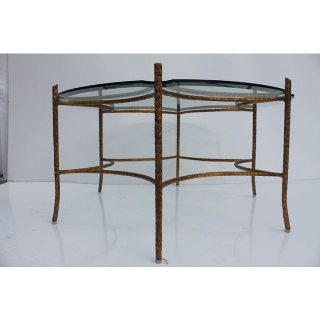 Italian Solid Brass Faux-Bois Base Coffee Table - Image 9 of 10