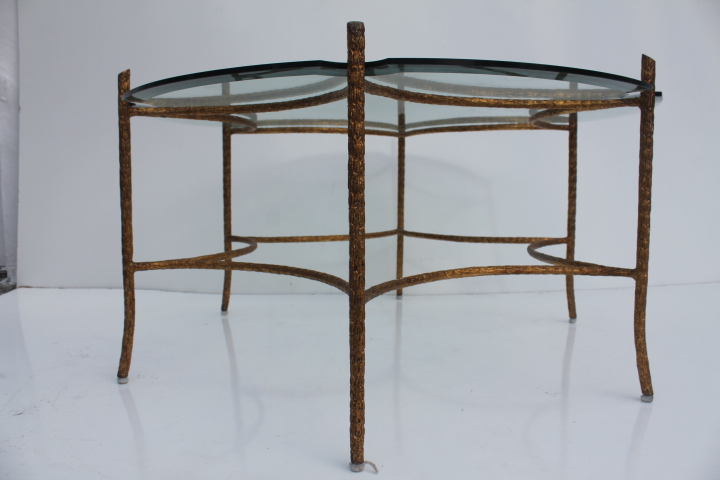 Italian Solid Brass FauxBois Base Coffee Table  Chairish