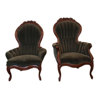 Mahogany Victorian Style Chairs - A Pair