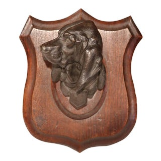 19th Century French Bronze Dog Sculpture on Wooden Plaque