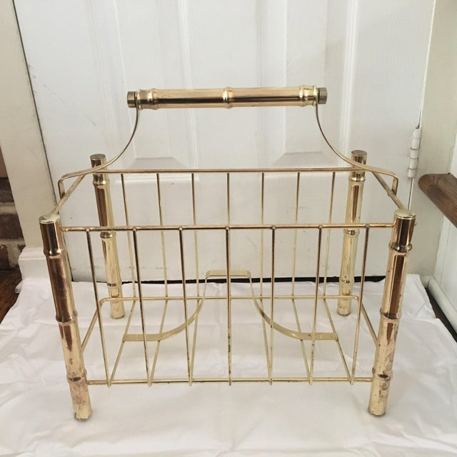 Vintage Brass Plated Faux Bamboo Magazine Holder - Image 2 of 10