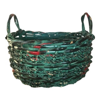 Vintage Painted Basket - Country Boho Chic