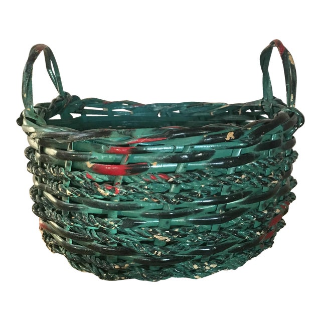 Image of Vintage Painted Basket - Country Boho Chic