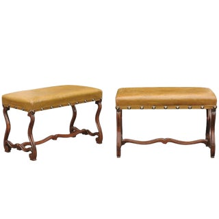 Pair of French Leather Upholstered Mutton Leg Walnut Stools / Benches, Late 19th
