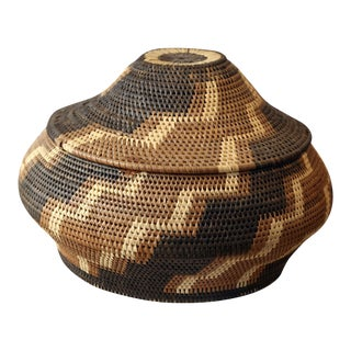 Vintage American Indian Lidded Basket