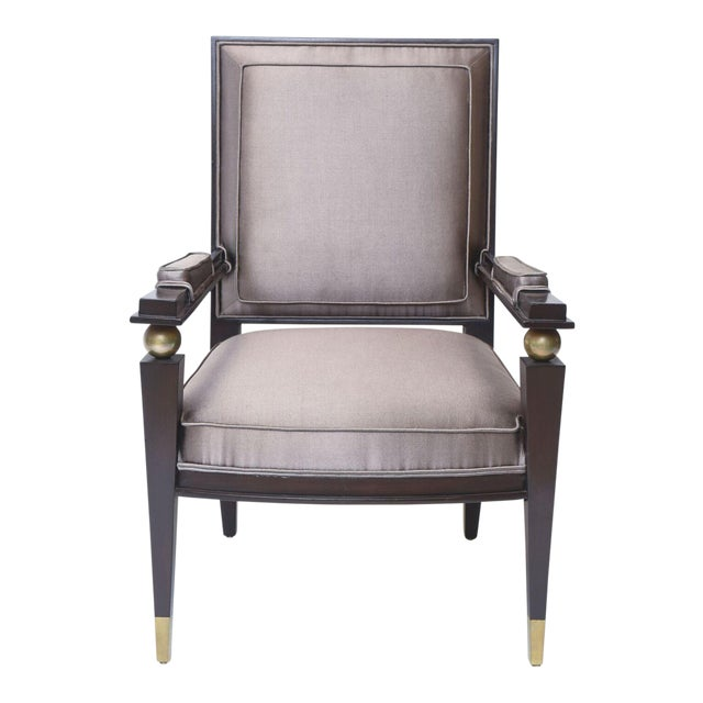 Jacques Quinet French Modern Dark Rosewood, Brass and Parcel-Gilt Armchair - Image 1 of 11