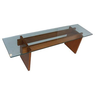 Danish Modern Glass & Teak Coffee Table