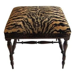 Tiger & Leopard Upholstered Ottoman