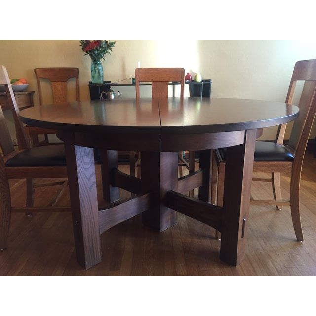 Stickley #634 Reproduction Oak Dining Table - Image 8 of 8