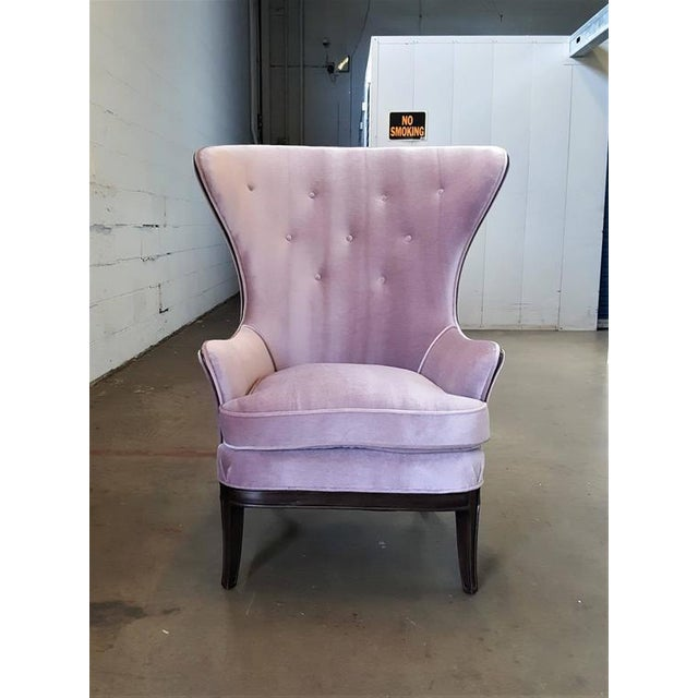 Mid-Century Modern Lilac Mohair & Mahogany Wingback Chair - Image 4 of 8