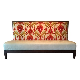 Custom Banquette in Velvet Ikat & Faux Leather