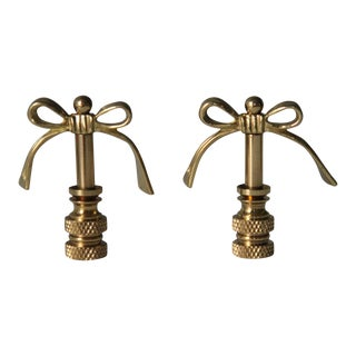 Brass Bow Finials - A Pair