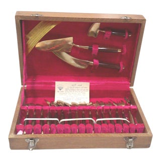 Bronze and Rosewood Appetizer and Serving Flatware Set