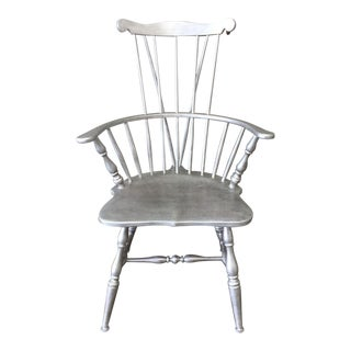 Windsor-Style Brushed Nickel Chair