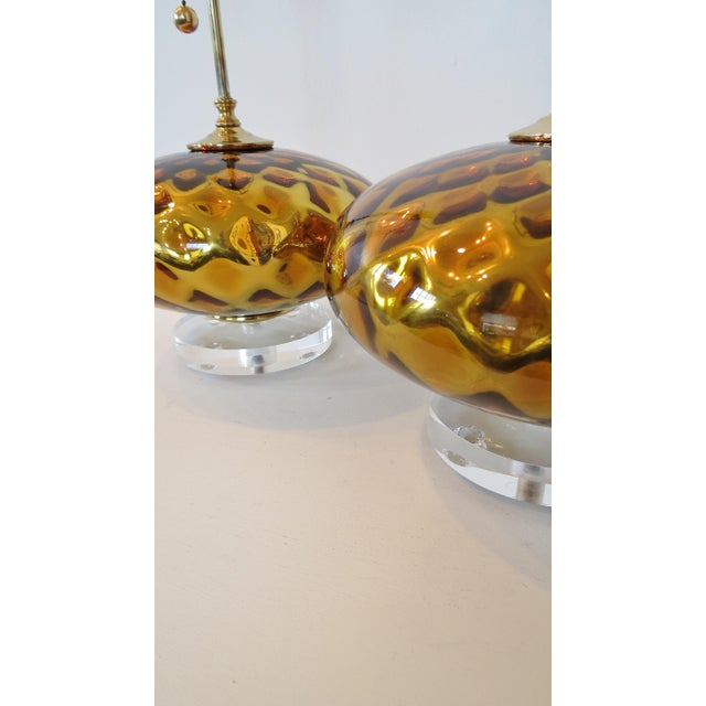 Vintage Gold Mercury Murano Glass Lamps - A Pair - Image 3 of 7