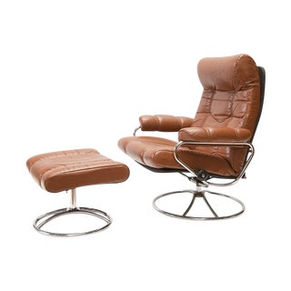 Ekornes Lounge Recliner With Ottoman