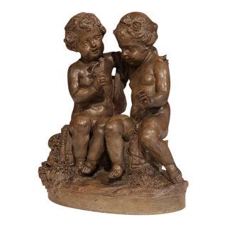 19th Century French Cherubs and Bird Patinated Terracotta Sculpture