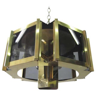 Sextagonal Brass Chandelier By Frederick Ramond