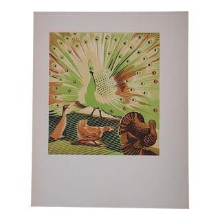 Vintage Ltd. Ed Woodcuts by J. Kefalleno-Greece-Peacock-Turkey