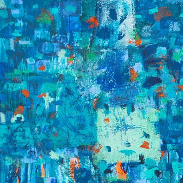 Large Blue & Coral Abstract - Image 2 of 6