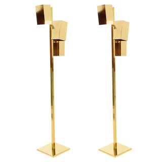 Brass Koch & Lowy Floor Lamps - A Pair