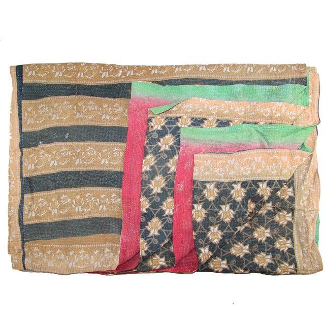 Vintage Brown & Blue Turkish Kantha Quilt - Image 1 of 2