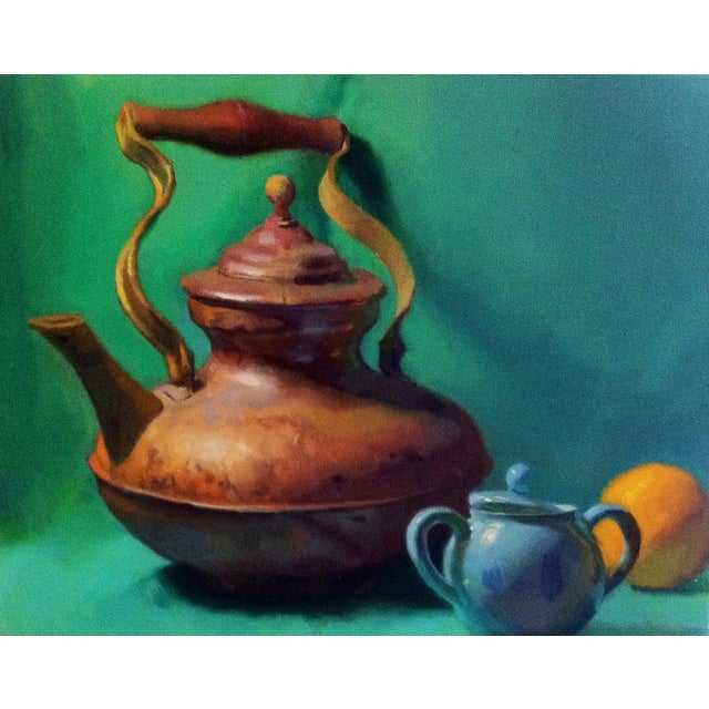 Image of ContemporaryTurquoise Teapot Painting