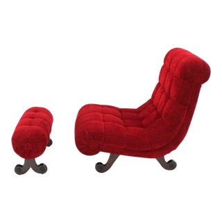 Hollywood Regency Scoop Shape Lounge Chair Foot Stool Red Upholstery HOT