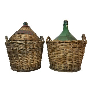 Italian Demijohns in Baskets - A Pair