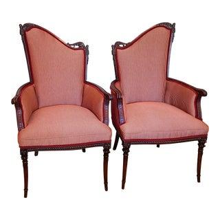 1935 Cotton & Velvet Harp Back Chairs - a Pair